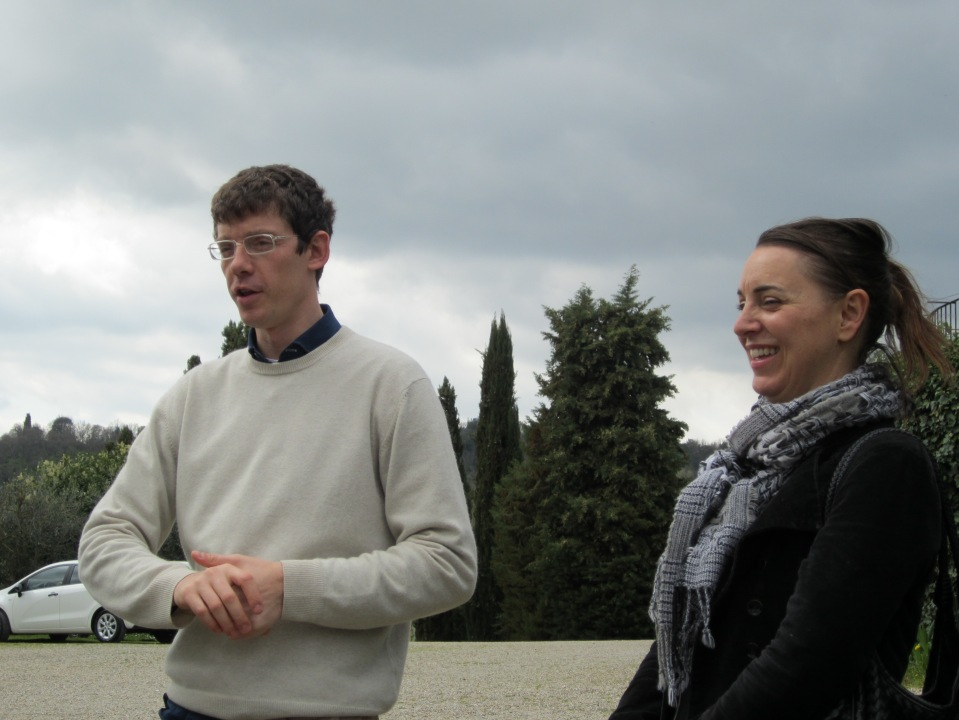 Fausto greets us, with tour leader Nadia from Artviva Tours of Florence