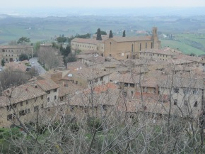 Fog over the valley below San Gimignano