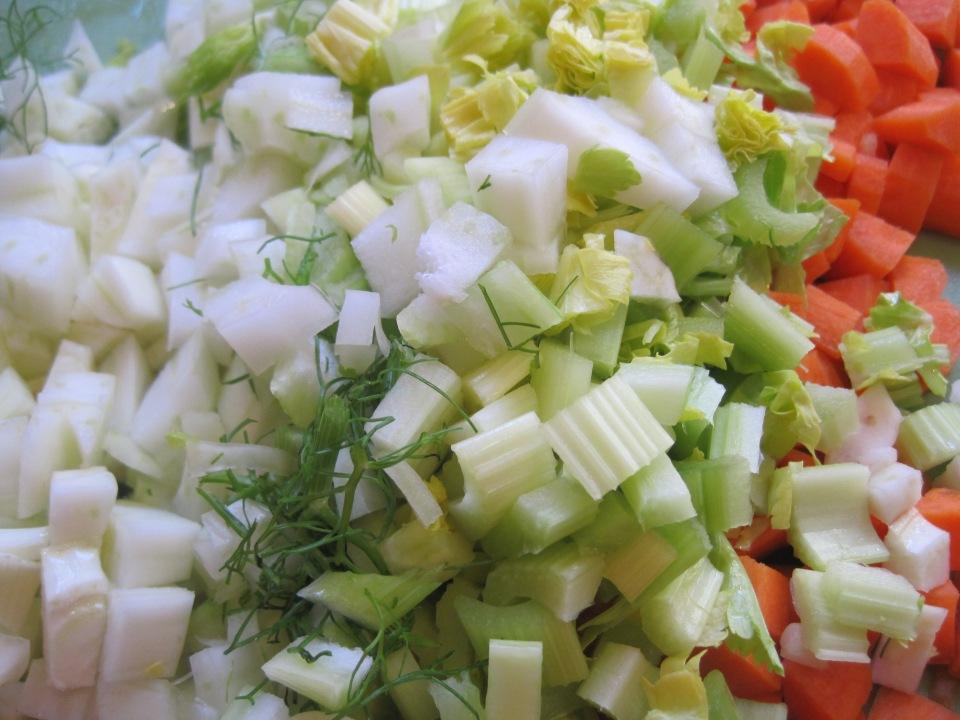 chopped fennel, onion, celery, carrot, garlic